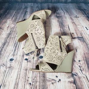 True Religion Peep Toe Wedges Size 8.5